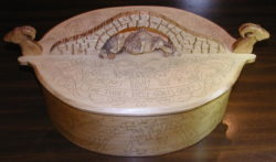 Carved and kolrosed box by Judy Ritger